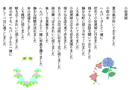 小田原城  夏の風が吹いておりました 小雨の中 ヘルパーさんと一緒に 初めて小田原城に行きました 様々な人の会話も聞いておりました 静かな町に感じさせてくれました  人も楽しく歩いておりました 小田原城の広さも目を見張りました 様々なお店も見て歩きました あじさいの花は雨に似合う花に感じました 緑の葉っぱもきれいに感じました 楽しくお食事をしました ヘルパーさんと一緒に写真を撮りました 静かな時間が流れました 命の洗濯もしました 人も親切に感じました 駅も広くきれいに感じました 雨の中でもヘルパーさんと一緒に 楽しく一日に過ごしました
